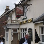 Pub sign at the front (with Julia Prescott and Jim Buttress)