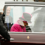 The Queen leaving